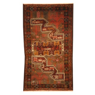 Herat Oriental Afghan Hand-knotted Tribal Balouchi Gray/ Brown Wool Rug (2'10 x 5')