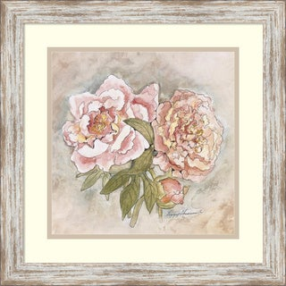 Peggy Abrams 'Victorian Panel-Peonies' Framed Art Print 19 x 19-inch