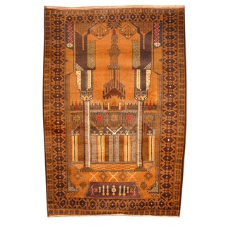 Herat Oriental Afghan Hand-knotted Tribal Balouchi Brown/ Navy Wool Rug (3'6 x 5'2)
