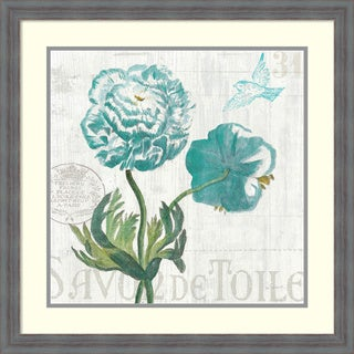 Sue Schlabach 'Floral Messages on Wood I Blue' Framed Art Print 26 x 26-inch