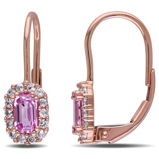 Miadora 10k Rose Gold Pink and White Sapphire Children's Earrings