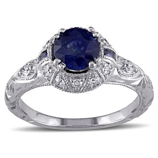 Miadora Signature Collection 14k White Gold Sapphire and 1/5ct TDW Diamond Ring (G-H, SI1-SI2)