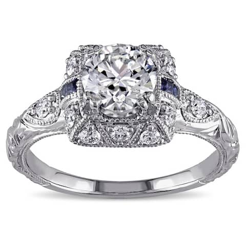 Miadora Signature Collection 14k White Gold Sapphire and 1 1/4ct TDW Diamond Engagement Ring - Blue