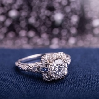 Link to Miadora Signature Collection 14k White Gold Sapphire and 1 1/4ct TDW Diamond Engagement Ring - Blue Similar Items in Wedding Rings