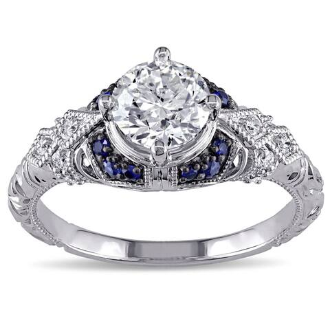 Miadora Signature Collection 14k White Gold Sapphire and 1 1/10ct TDW Diamond Engagement Ring - Blue