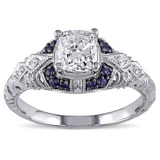 Miadora Signature Collection 14k White Gold Sapphire and 1 1/6ct TDW Diamond Engagement Ring