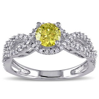 Miadora Signature Collection 10k White Gold 3/4ct TDW Yellow and White Diamond Ring