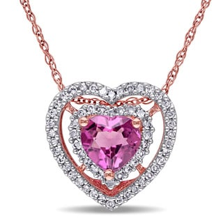 Miadora 10k Rose Gold Pink Tourmaline and 1/5ct TDW Diamond Necklace (G-H, I1-I2)