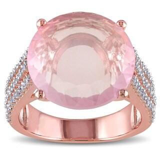 Miadora Rose Plated Silver Rose Quartz and White Topaz Cocktail Ring