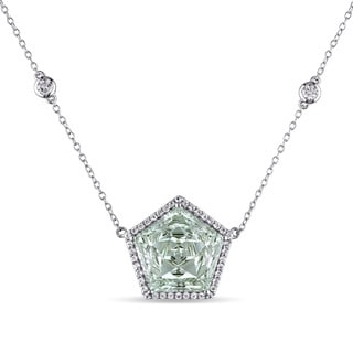 Miadora Sterling Silver Green Amethyst and White Topaz Station Necklace