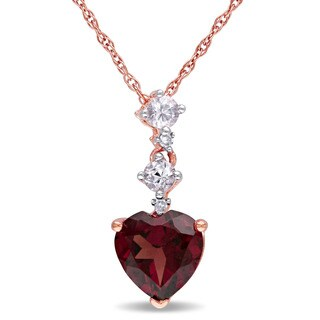 Miadora 10k Rose Gold Multi-gemstone and Diamond Accent Necklace