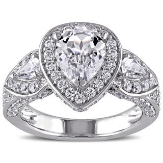 Miadora Sterling Silver Created White Sapphire Halo Ring