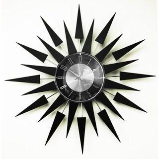 Mid Century Modern Sunburst Wood Clock, 20-inch