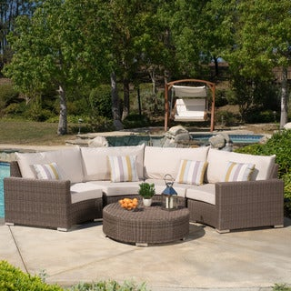 Barcelona Outdoor 5-piece Aluminum Sectional Seating Set with Sunbrella Cush by Christopher Knight H
