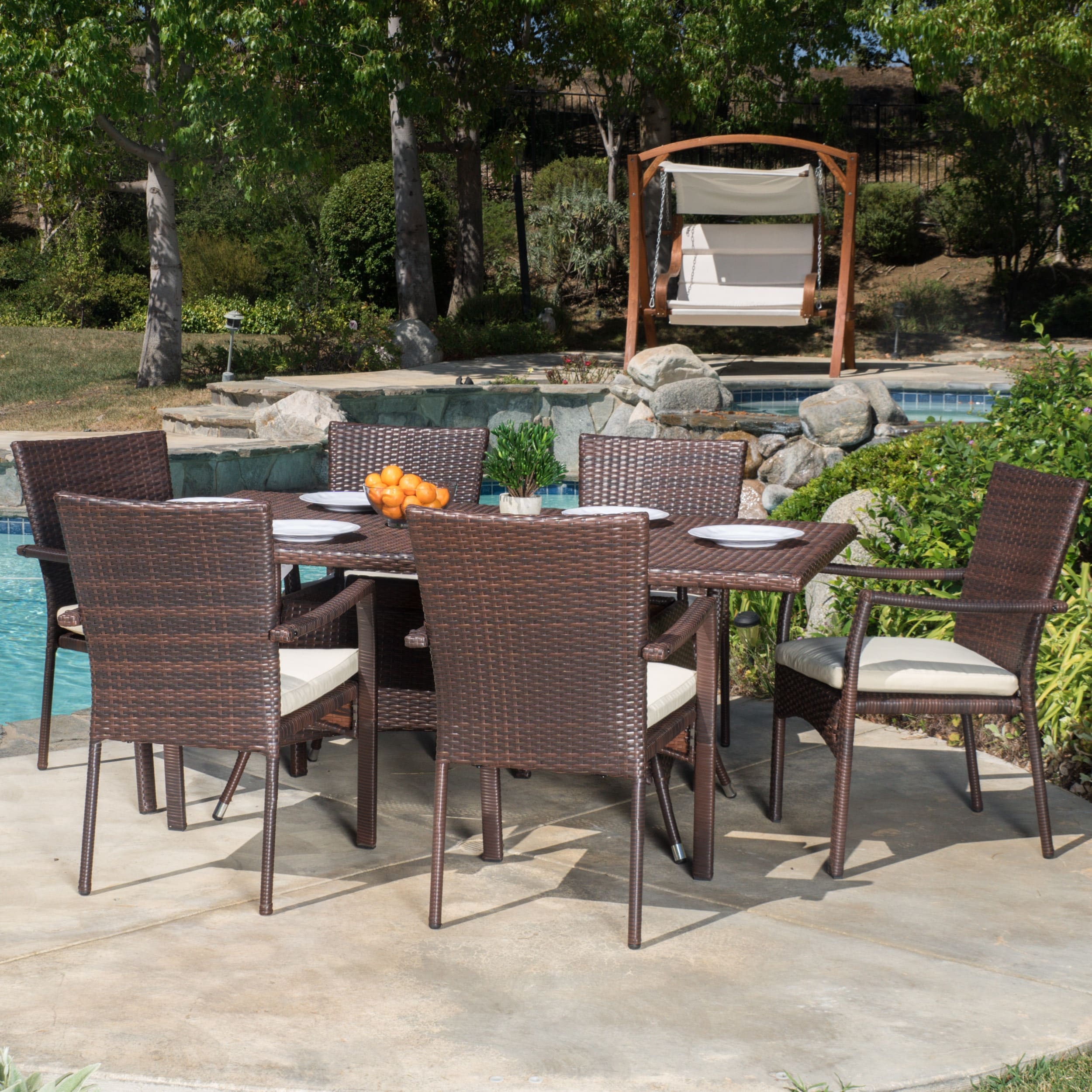 Thompson Outdoor 7 Piece Wicker Dining Set With Cushions By Christopher  Knight Home