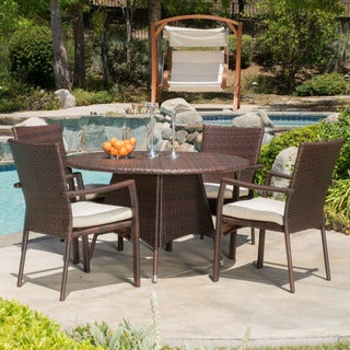 Palmers Outdoor 5 Piece Wicker Dining Set With Cushions By Christopher  Knight Home