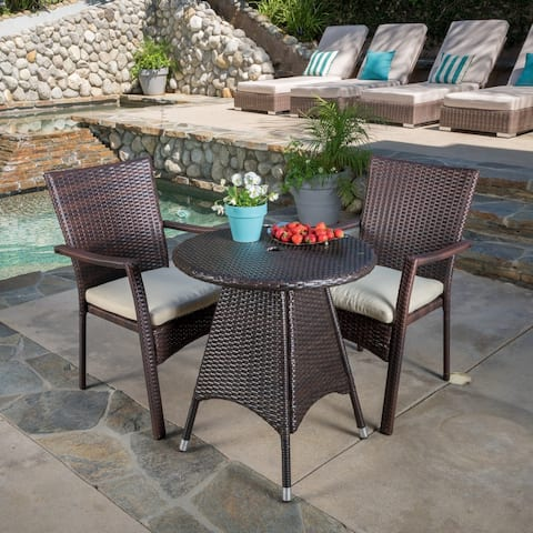 Christopher Knight Home Georgina Outdoor 3-piece Wicker Bistro Set with Cushions