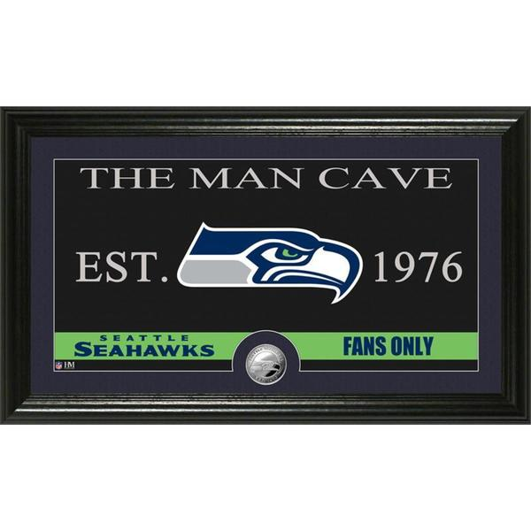 Seattle Seahawks 'The Man Cave' Minted Coin Panoramic Photo Mint