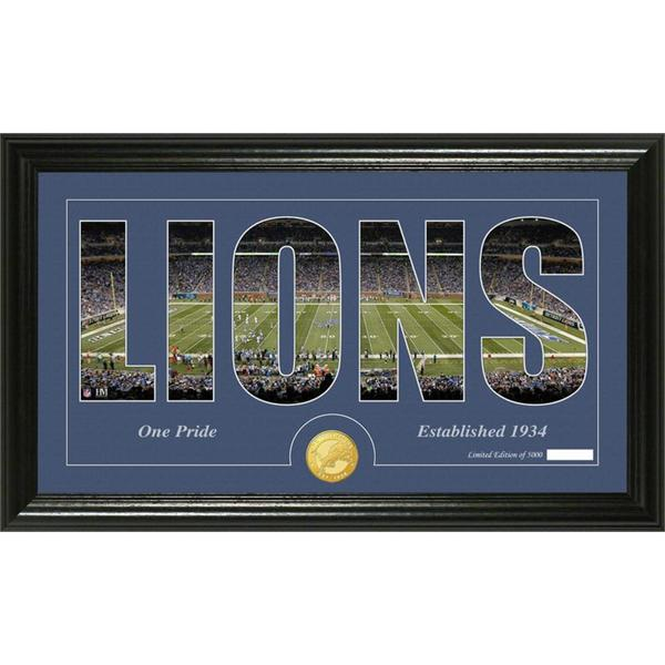 Detroit Lions 'Silhouette' Bronze Coin Panoramic Photo Mint