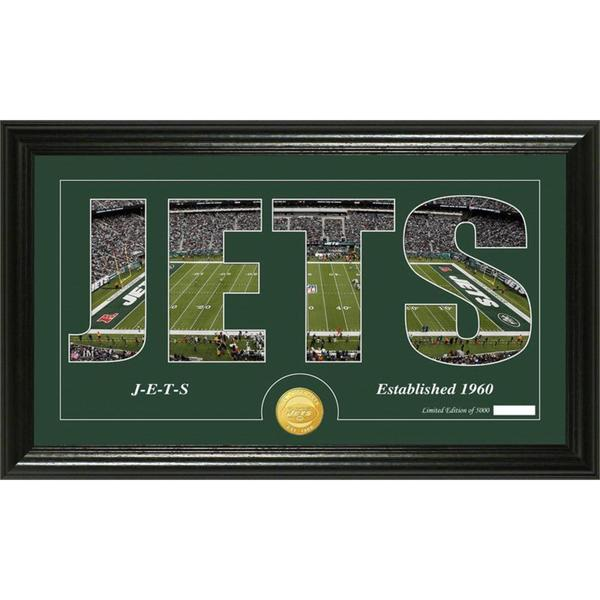 New York Jets 'Silhouette' Bronze Coin Panoramic Photo Mint