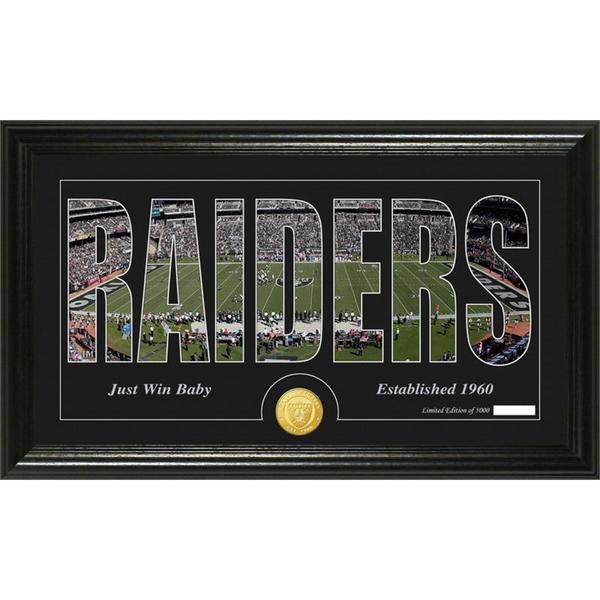 Oakland Raiders 'Silhouette' Bronze Coin Panoramic Photo Mint