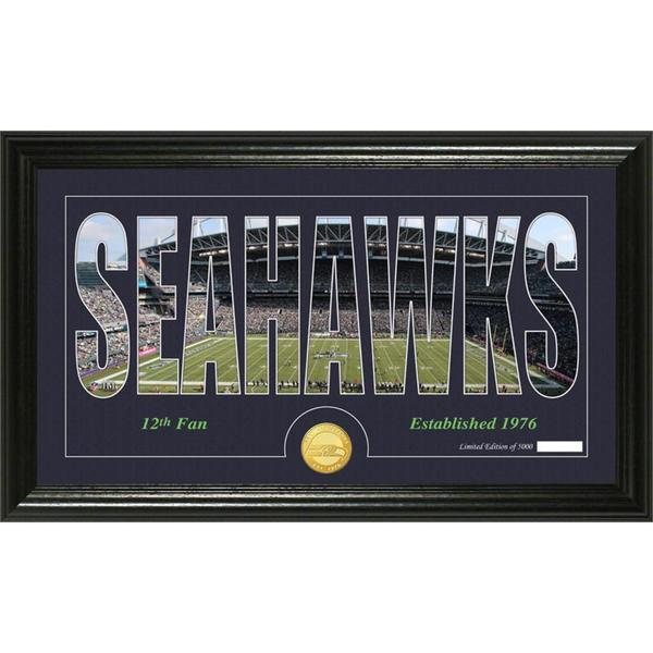 Seattle Seahawks 'Silhouette' Bronze Coin Panoramic Photo Mint