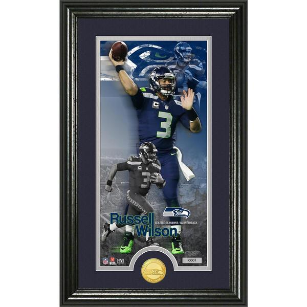 Russell Wilson 'Supreme' Bronze Coin Panoramic Photo Mint