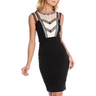 London Dress Company Women's BodyCon Dress with Sheer Detailing