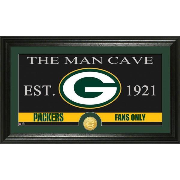 Green Bay Packers 'The Man Cave' Bronze Coin Panoramic Photo Mint