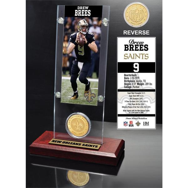 Drew Brees Ticket and Bronze Coin Acrylic Desk Top