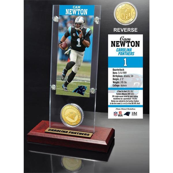 Cam Newton Ticket and Bronze Coin Acrylic Desk Top