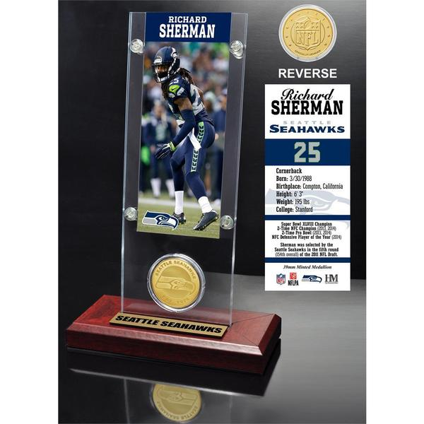 Richard Sherman Ticket and Bronze Coin Acrylic Desk Top