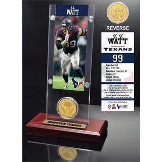 J.J. Watt Ticket and Bronze Coin Acrylic Desk Top