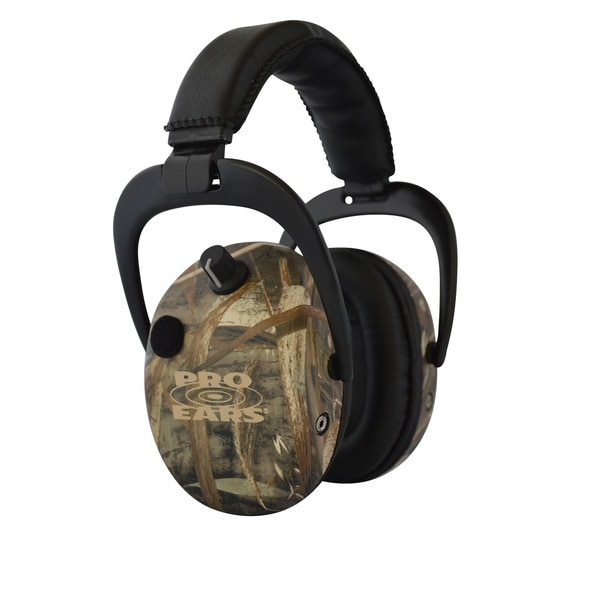 Pro Ears NRR 25 Stalker Gold Max 5 Camo Electronic Hearing Protection and Amplification Earmuffs