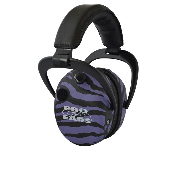 Pro Ears NRR 25 Stalker Gold Purple Zebra Electronic Hearing Protection and Amplification Earmuffs