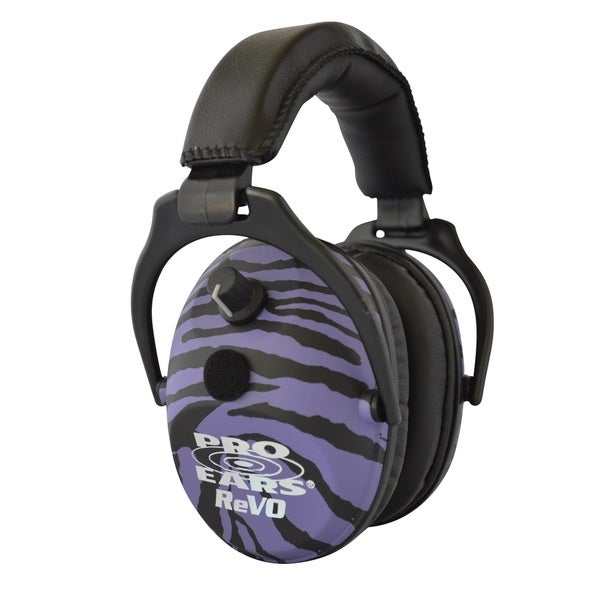 Pro Ears NRR 25 ReVO Electronic Hearing Protection and Amplification Purple Zebra Youth and Women Ear Muffs