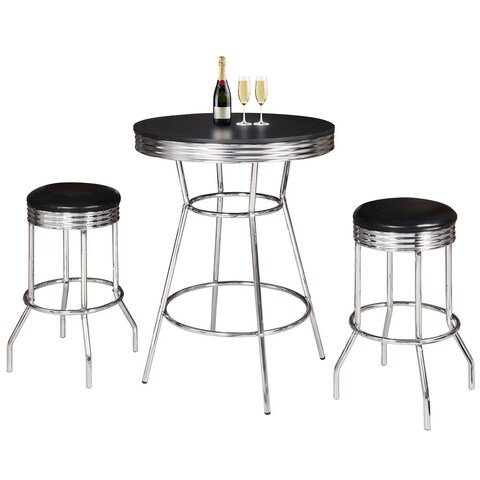 Remington 3 Piece Pub Table Set Chrome and Black