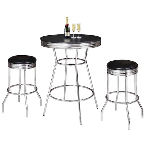 Remington 3 Piece Pub Table Set - Chrome and Black