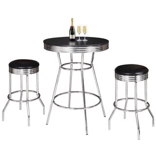 Link to Remington 3 Piece Pub Table Set - Chrome and Black Similar Items in Billiards & Pool