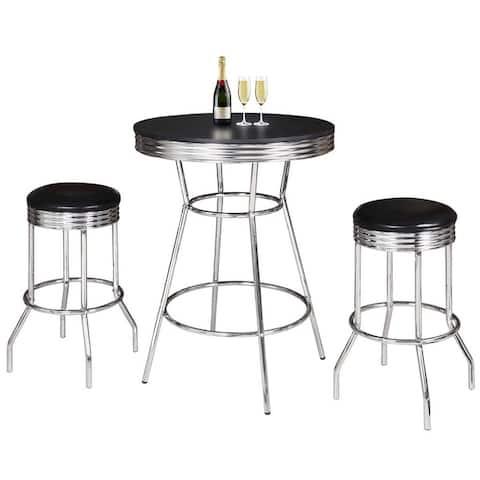 Remington 3 Piece Pub Table Set - Chrome and Black