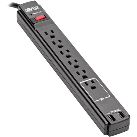 Tripp Lite Surge Protector Power Strip 6 Outlet 2 USB Ports 6 ' Cord Black