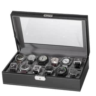 Black Faux Leather 12-Slot Watch Box|https://ak1.ostkcdn.com/images/products/10492676/P17579901.jpg?impolicy=medium