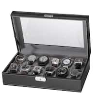 Black Faux Leather 12-Slot Watch Box