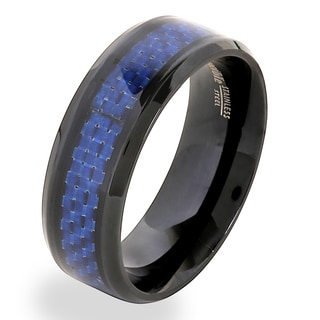 Crucible Blackplated Stainless Steel Blue Carbon Fiber Band Ring