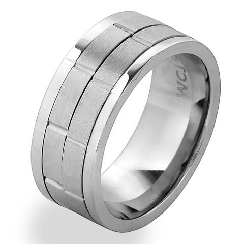 Men's Stainless Steel Dual Spinner Ring - whiet