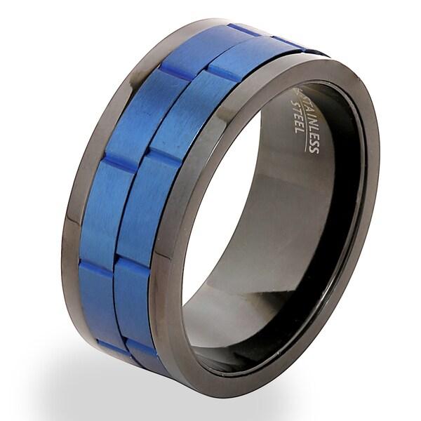 Men X27 S Blue On Black Stainless Steel Dual Spinner Ring