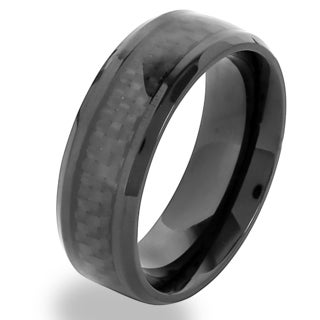 Crucible Black Plated Stainless Steel Black Carbon Fiber Band Ring