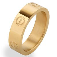 Men's Gold Plated Stainless Steel Polished Screw Design Band Ring - White