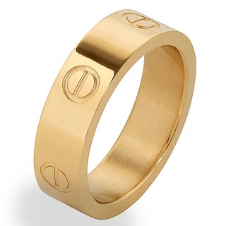 Men's Goldplated Stainless Steel Polished Screw Design Band Ring - White