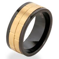 Men's Gold Plated Stainless Steel Dual Spinner Ring - Black